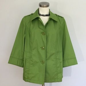 Style & Co Green Jacket 100% Cotton